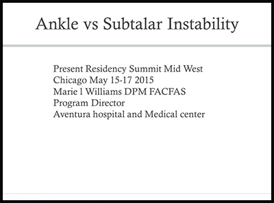 Ankle vs Subtalar Instability by Marie Williams